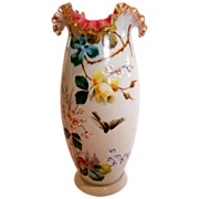 English Art Glass Vase White & Pink w Hand Painted Enameled Bird & Rose c 1890