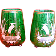 Bohemian Harrach Marmor Pair Small Art Glass Vases Mottled Green w Hand Enameled Herons Birds c 1885