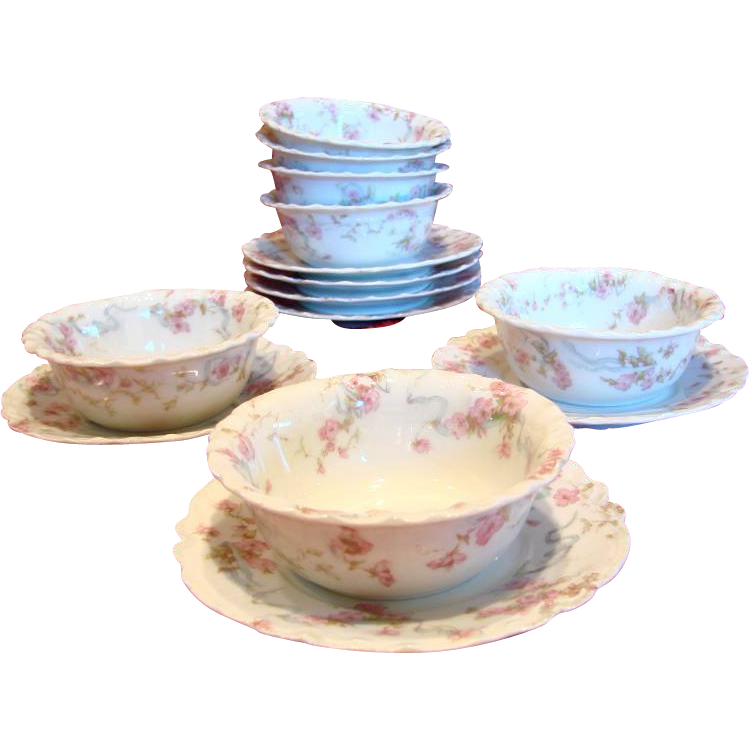 French Limoges Haviland Set of 7 Ramekins & Under Plates Pink Flowers Blue Ribbons Schleiger 481 C 1893 - 1930