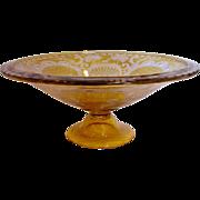 Bohemian Czech Amber Glass Footed Centerpiece Bowl Acid Cut Deer Turrets, Trees & Scrolls c 1930