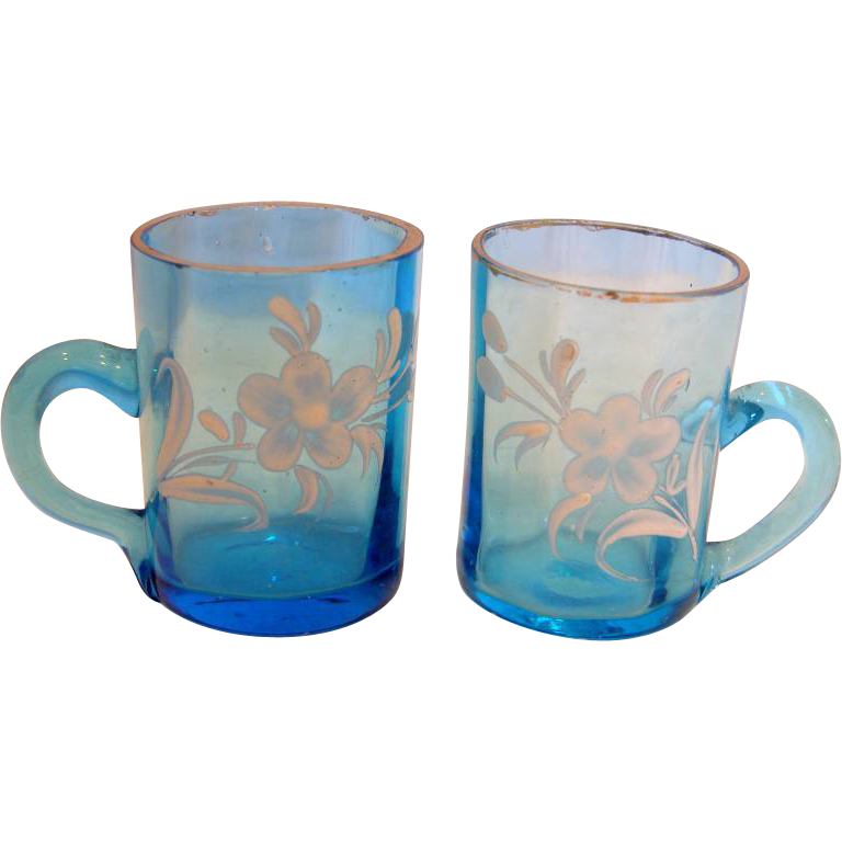 Bohemian Art Glass Pair of Blue Shot Mugs for Whiskey w Handles Hand Painted Enameled Flowers c 1880