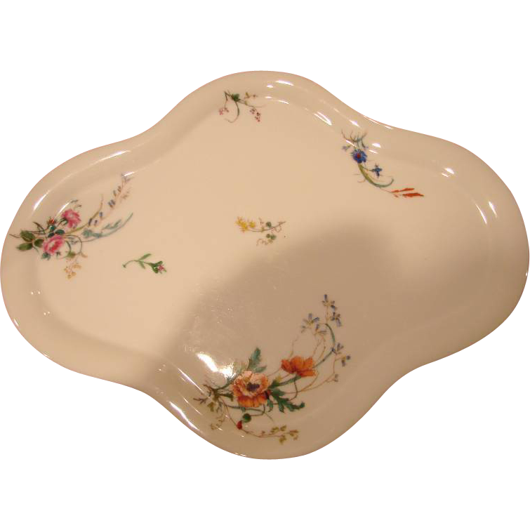"French Haviland Limoges 16 ½"" Tray Platter w Botanical Flowers c 1879 - 1880"