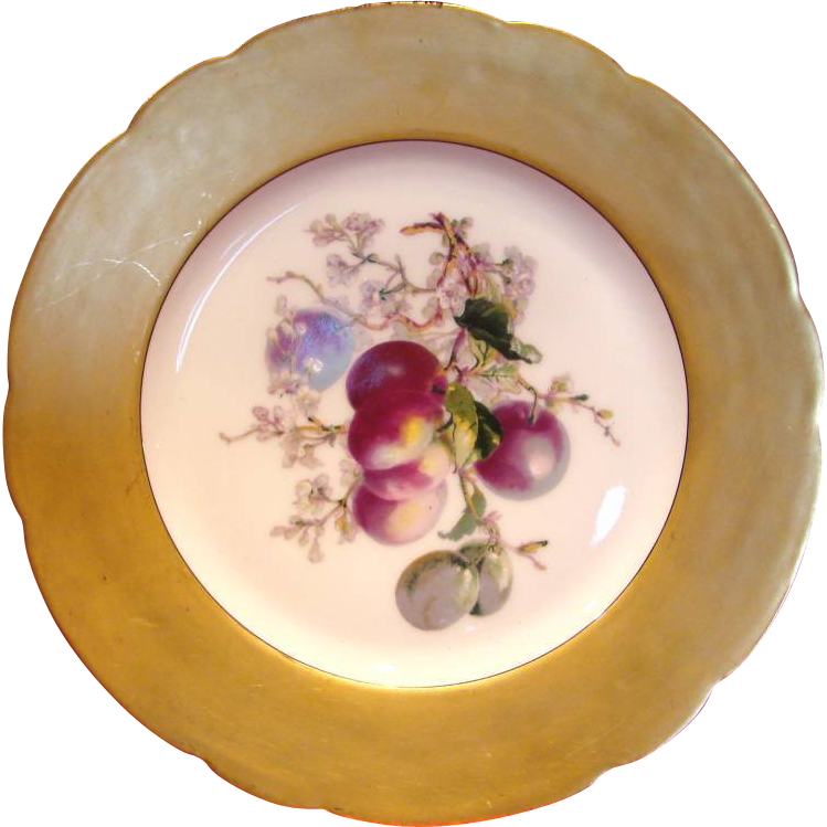 French Haviland Limoges Plate Gold Rim Purple Fruit Apples c 1893 - 1910