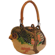 Asian Figural Pottery Bird Demitasse Teapot Hand Painted Enameled c 1870 - 1900