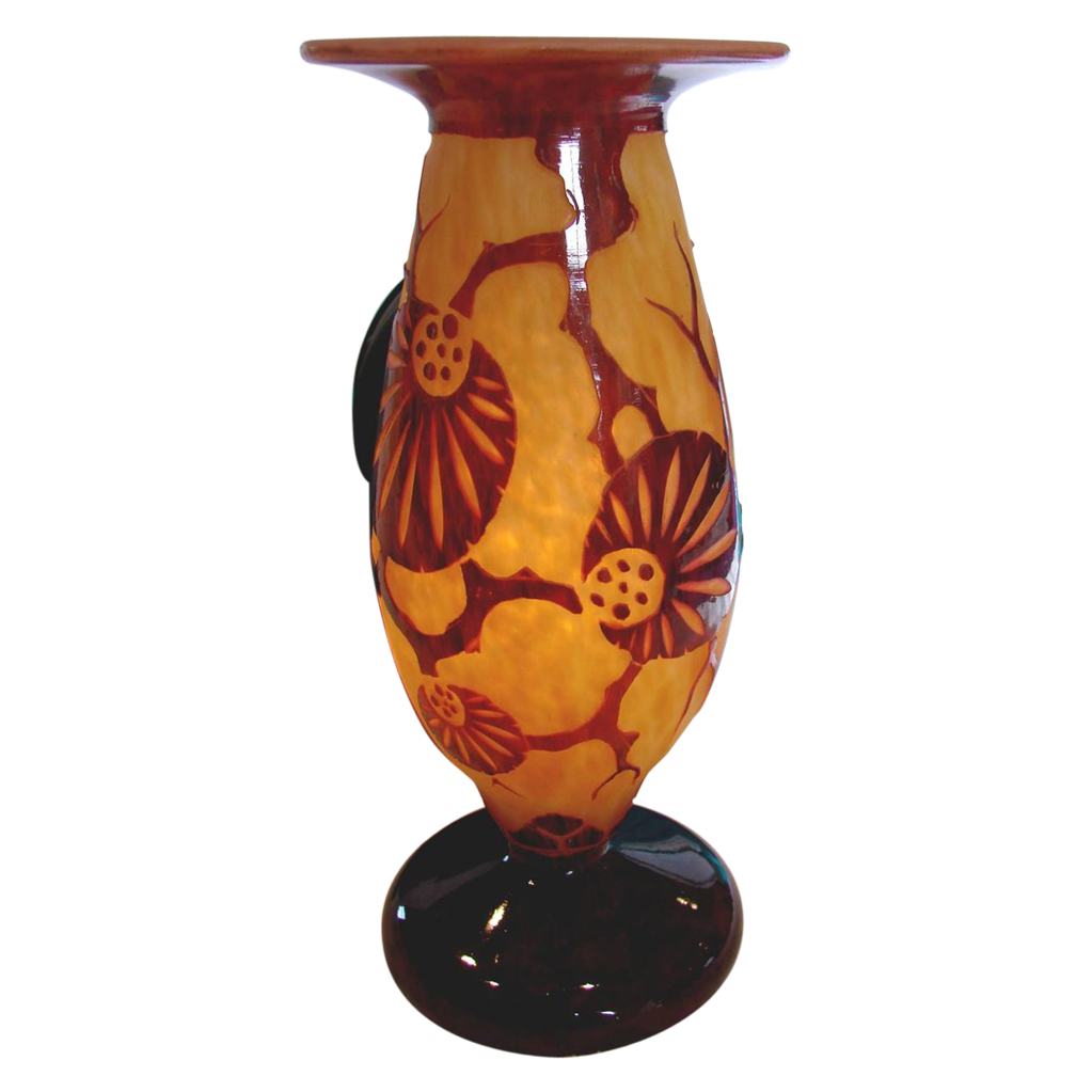 French Art Glass Cameo Vase Schneider Le Verre Francais Décor Epinette Signed c 1925 - 1927