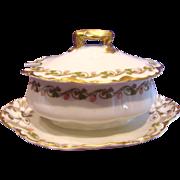 French Haviland Limoges Mustard Pot w Attached Underplate Clover Leaf Schleiger 98 c 1893 - 1930