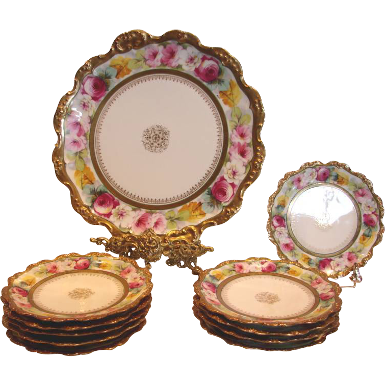 French Limoges 11-Piece Dessert Set Studio Decorated Hand Painted ROSES Artist Signed c 1891 - 1899