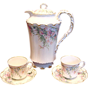 French Haviland Limoges Chocolate Set Pot & 2 Cups & Saucers Pink Flowers c 1893 - 1930
