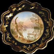 English Aynsley Cobalt Pedestal Comport Artist Signed Lake Killarney Landscape Scene c 1890 - 1910