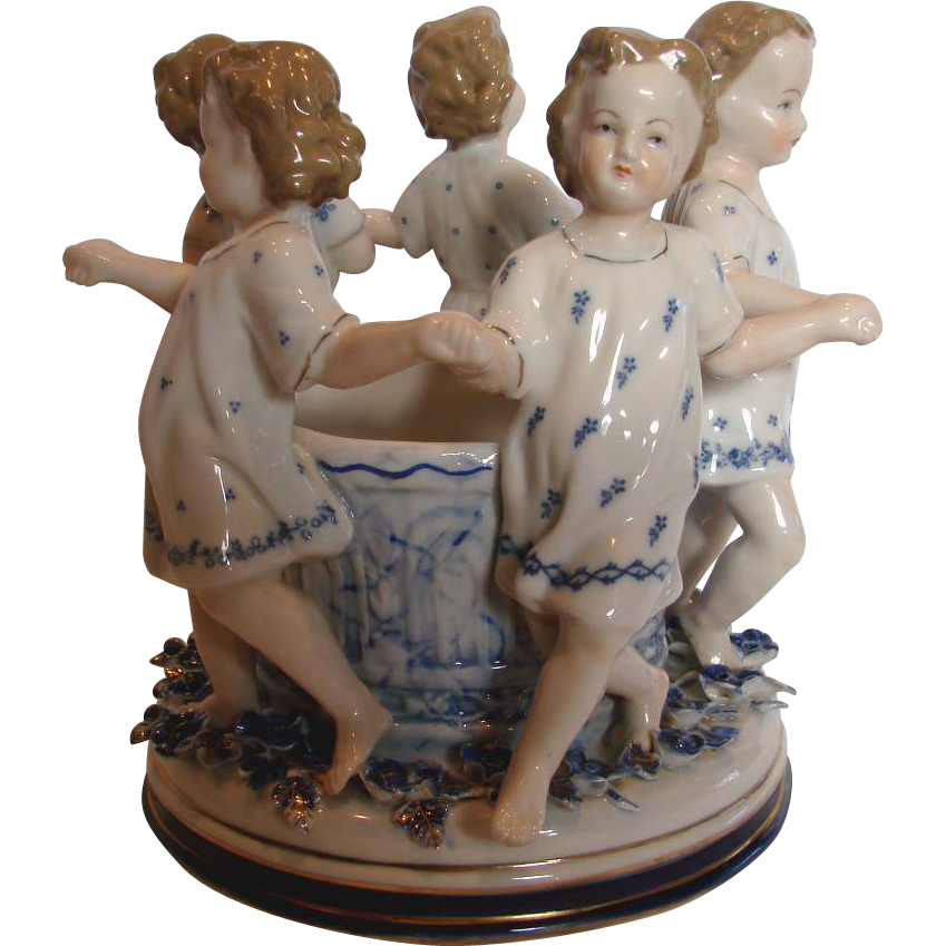 "German Ernst Bohne 7"" Figural Group Little Girls & Wishing Well Applied Flowers c 1878 - 1920"