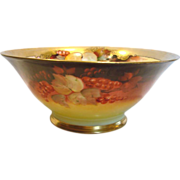 "French Limoges 9 ¾"" Bowl Signed by Pickard – Donath Artist Max Rost Red Currants & Autumn Leaves c 1900 - 1910"