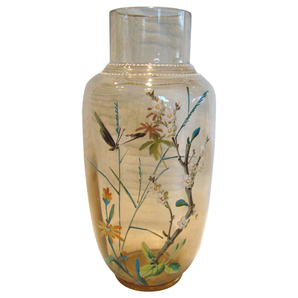 "Bohemian Art Glass 7 5/8"" Vase Pale Amber w Hand Enameled Butterfly & Foliage c 1880"