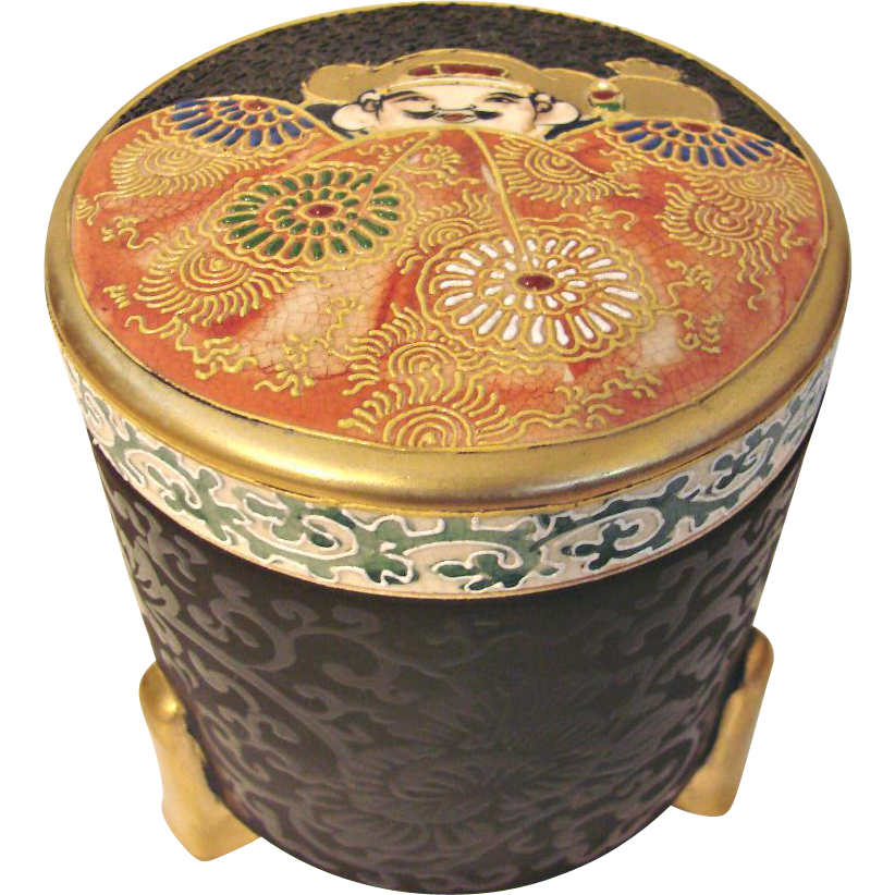 Japanese Asian Satsuma Footed Tall Round Box Unusual Meiji Post-1891