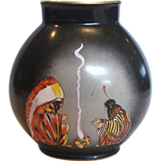 "French Paris 9"" Porcelain Vase American Indians Southwest Décor Artist Painted by E. Margerie for Bastard c 1925"