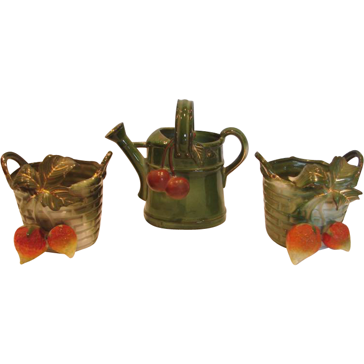 German Porcelain Gardener's Small Trio Two Matching Garden Baskets & Watering Can w Applied Strawberries Cherries Leaves c 1890