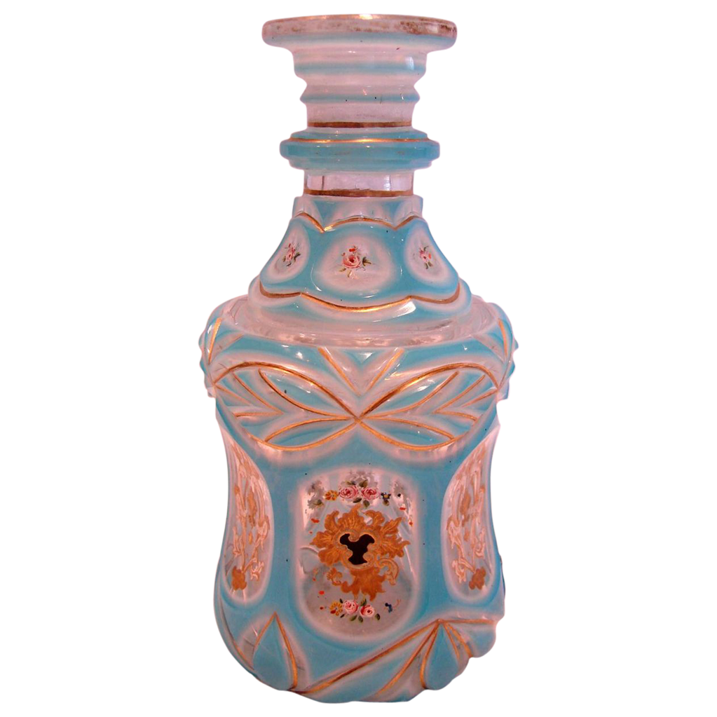 Bohemian Art Glass Scent Perfume Bottle (Cologne) Blue Cut to White Cut to Clear Hand Enameled Roses c 1880