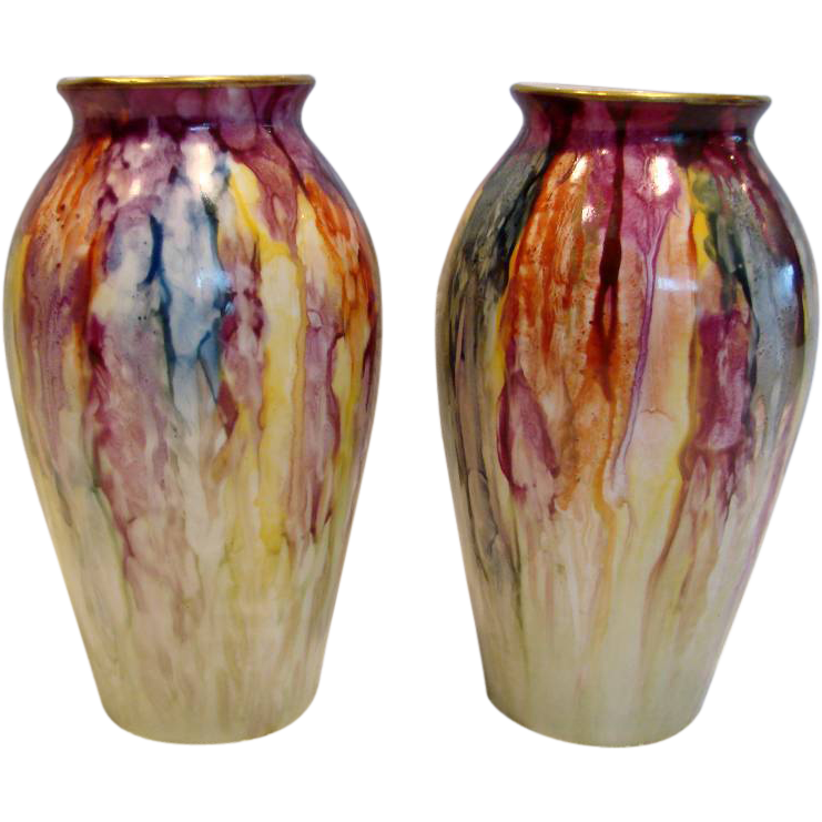 "French Limoges Pair 7"" Vases Different Mixed Colors c 1919 - 1935"