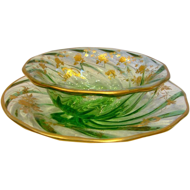 French Green Art Glass Bowl & Under Plate w Wavy Swirled Sides Gold Enameled Roses c 1900