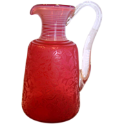 English Hodgetts, Richardson & Son Art Glass Jug Ruby Red Engraved Wild Roses White Threading c 1870 - 1880