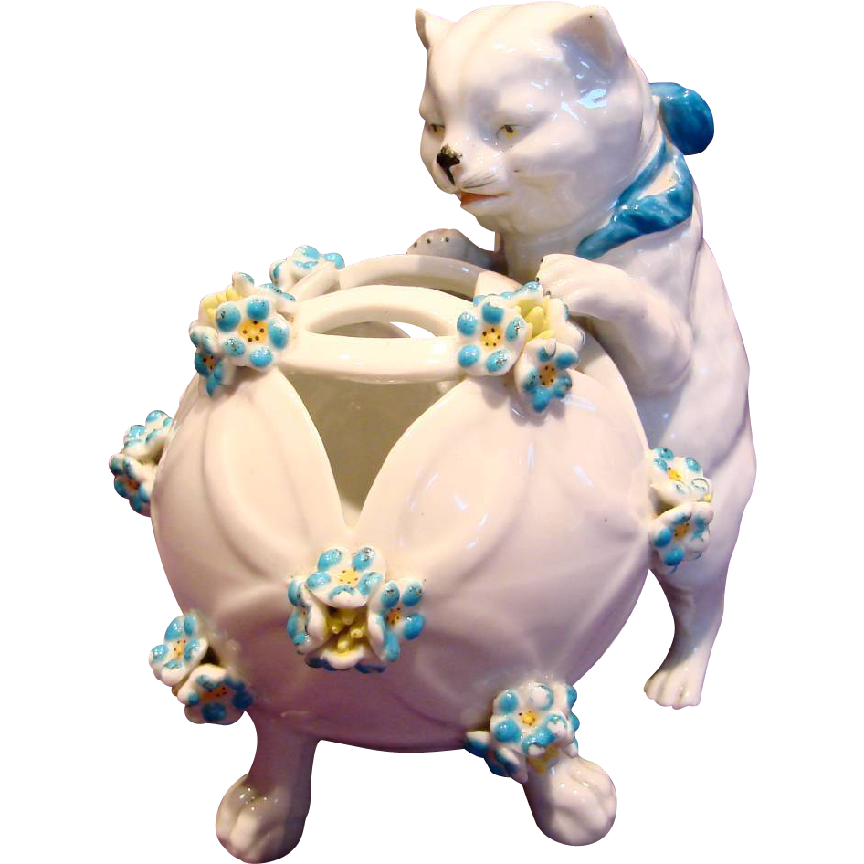French Paris Samson Cat Figurine Holder w Applied Flowers c 1890