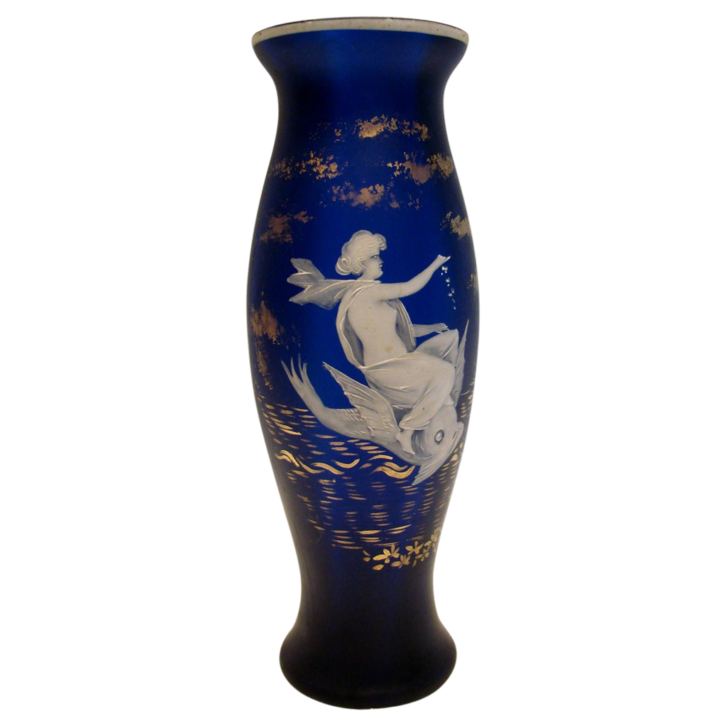 "Bohemian 8"" Art Glass Vase Satin Dark Blue Florentine Cameo Flying Fish w Bare Breasted Female  c 1880 - 1900"