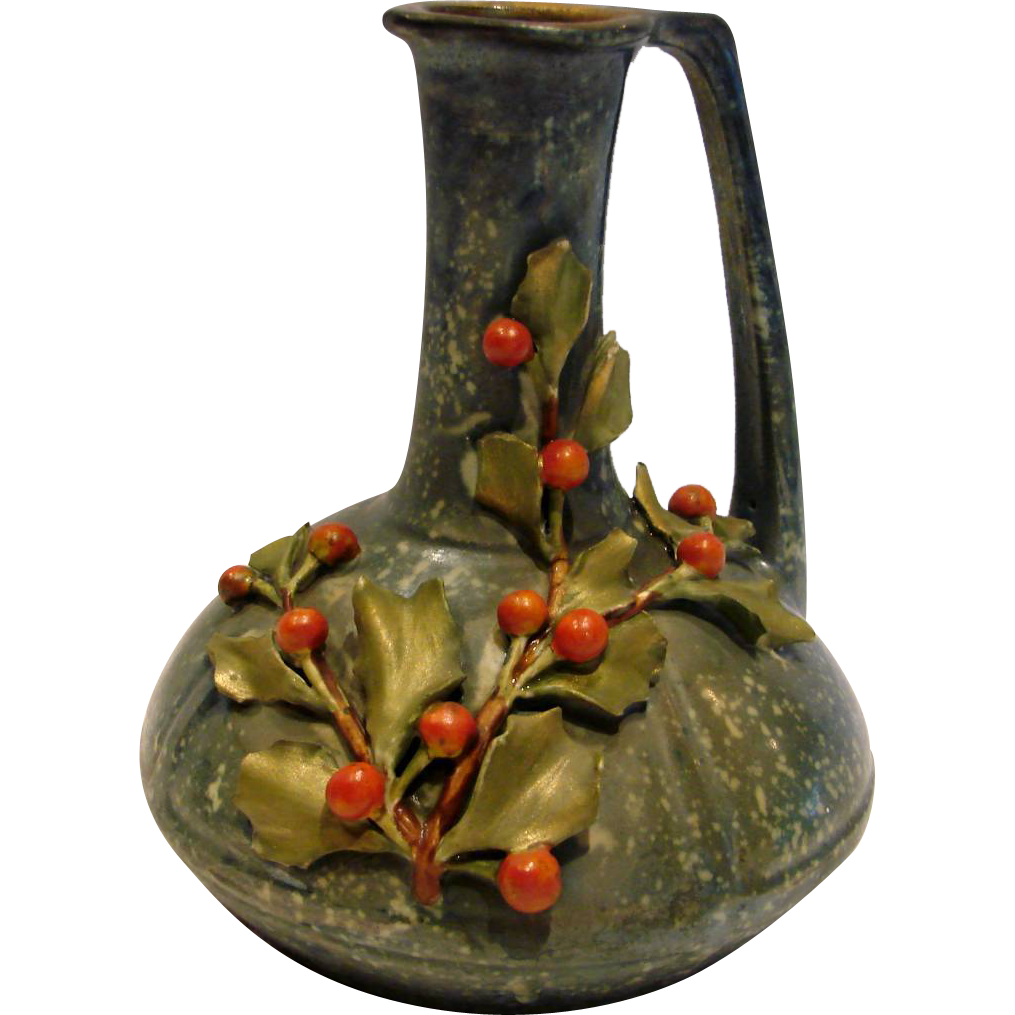 Bohemian Czech Teplitz Amphora Ewer w Applied Holly Leaves Red Berries c 1859 - 1894