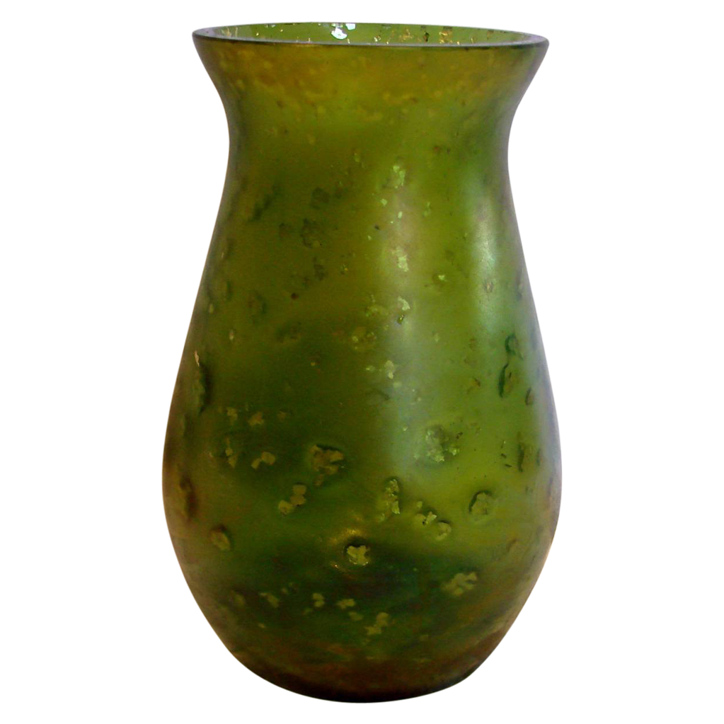 "Bohemian Green 5 3/8"" Art Glass Iridescent Vase w Mica Flakes c 1890"