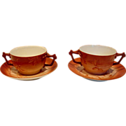 French Limoges Pair Bouillon Cups Scrs Painted Flowers Leaves Shaded Red c 1892 - 1907