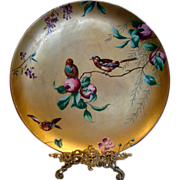 "English Minton 14"" Charger Gold w Essex Birds c 1881"