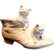 French Paris Bisque Parian Puss in Boots Two Cats in Porcelain Shoe Boot Figurine Pen Holder Vase c 1880