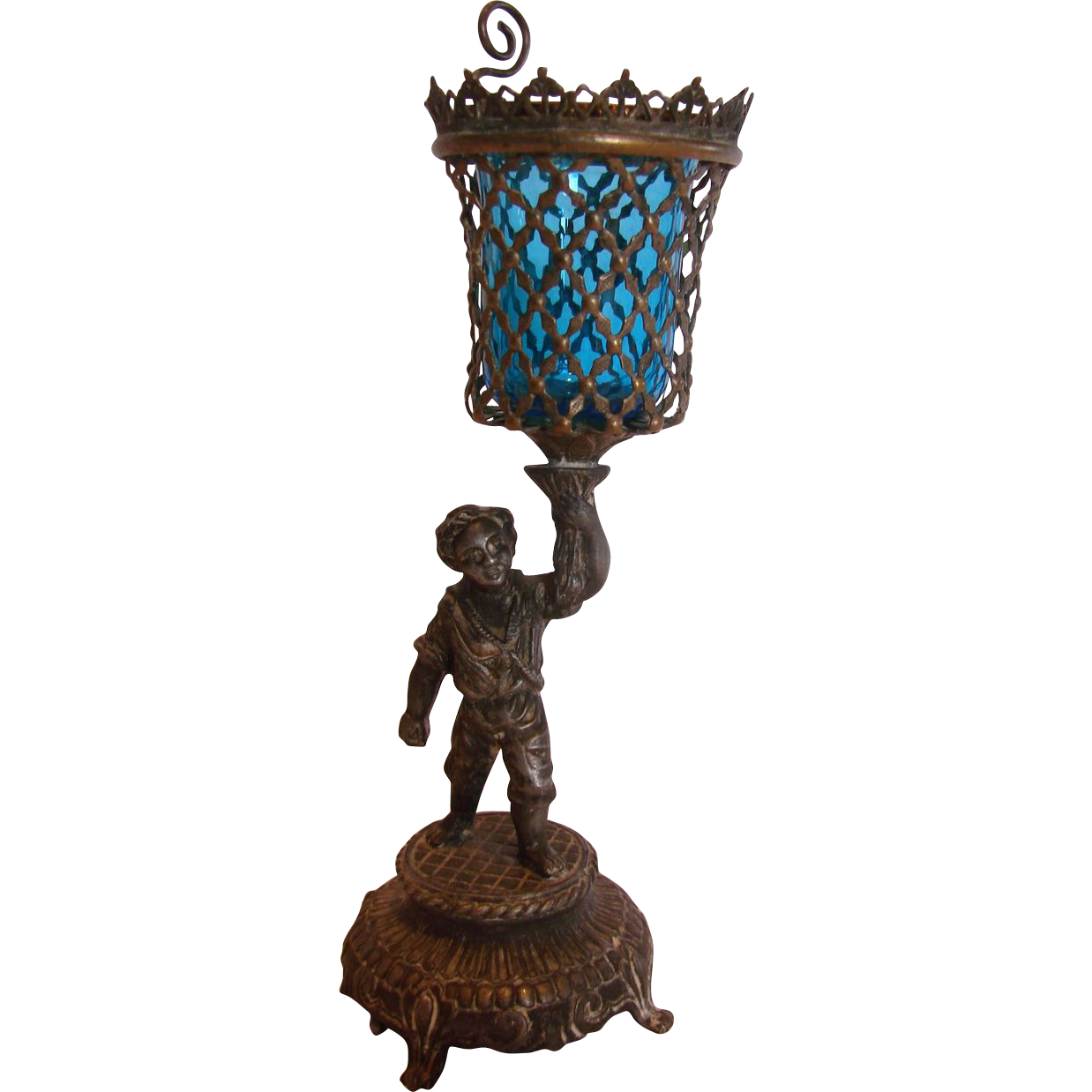 French Metal Boy Figure Holding a Reticulated Basket w Blue Art Glass Insert Epergne Vase or Candle Stick Holder c 1870