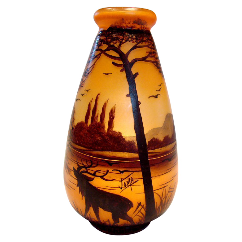 "French Joma Painted 9 ½"" Art Glass Vase Southwest Décor w Moose or Elk Mountain Scene Signed c1930 - 1935"