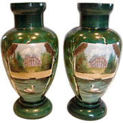 "French Pair Opaline 11 ¾"" Art Glass Vases Painted Swan Bird Water Scene c 1860 - 1870"