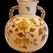 English Pointon Staffordshire Vase Gold Enameled Butterflies Foliage c 1883 - 1891