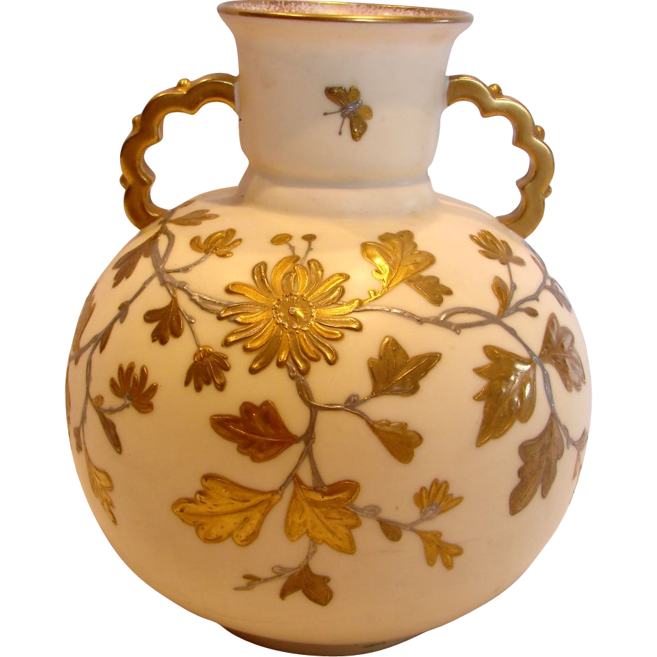 English Pointon Staffordshire Vase Gold Enameled Butterflies Foliage c 1883 - 1891