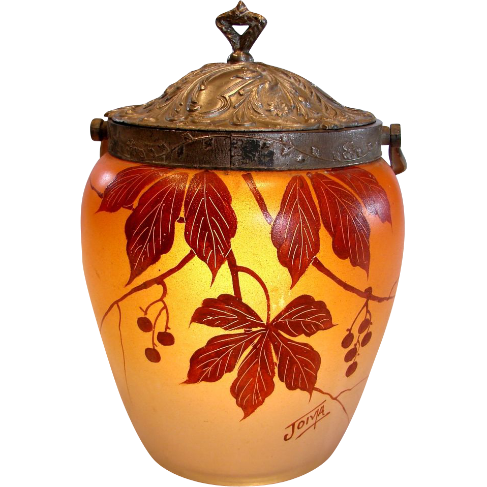 French Joma Art Glass Pate Verre Hand Painted Red Currants Berries & Leaves Cookie Jar w Metal Lid Art Deco Signed c 1930 - 1935