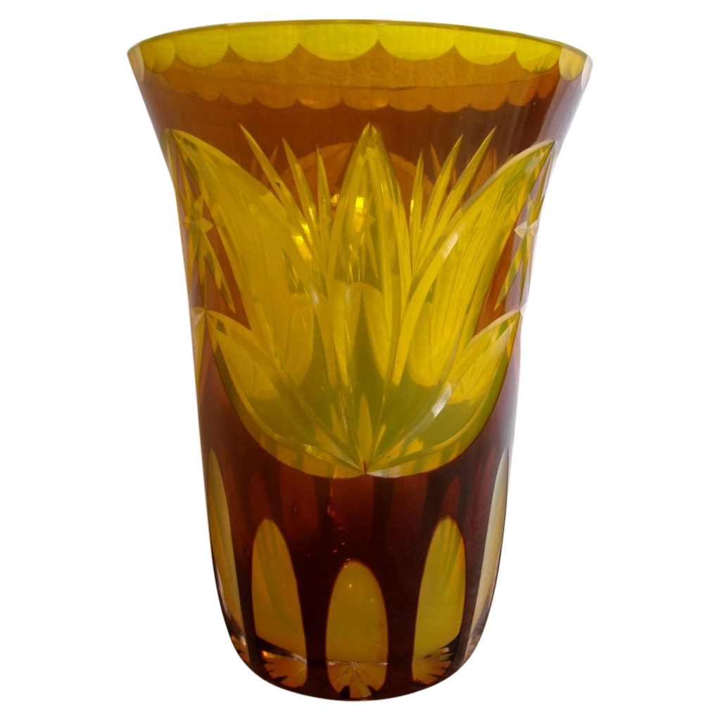 "Bohemian 7"" Art Glass Vase Yellow Tulips Brown Cut to Clear w Yellow Interior c 1910"