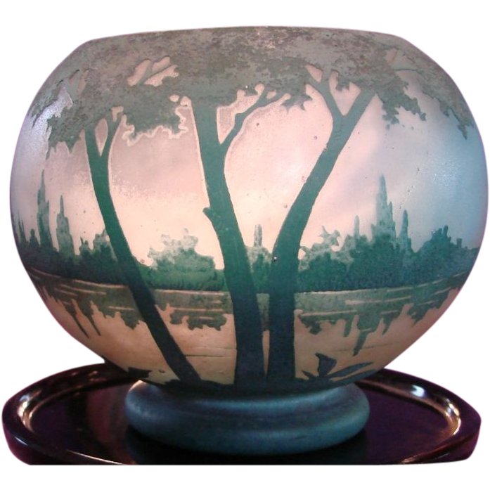 French Daum Freres Nancy Cameo Art Glass Rose Bowl Vase Blue Green Lake Scene Signed Twice c 1904