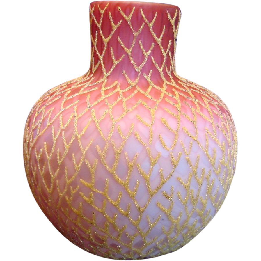 "English 7 ¾"" Art Glass Vase Satin Ruby Shading to Pink Over White Diamond Air Trap w Gold Coralene c 1885"