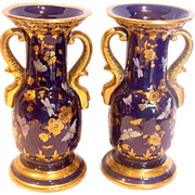 French Pair Faience Vases Cobalt Blue w Flying Insects Butterflies c 1850