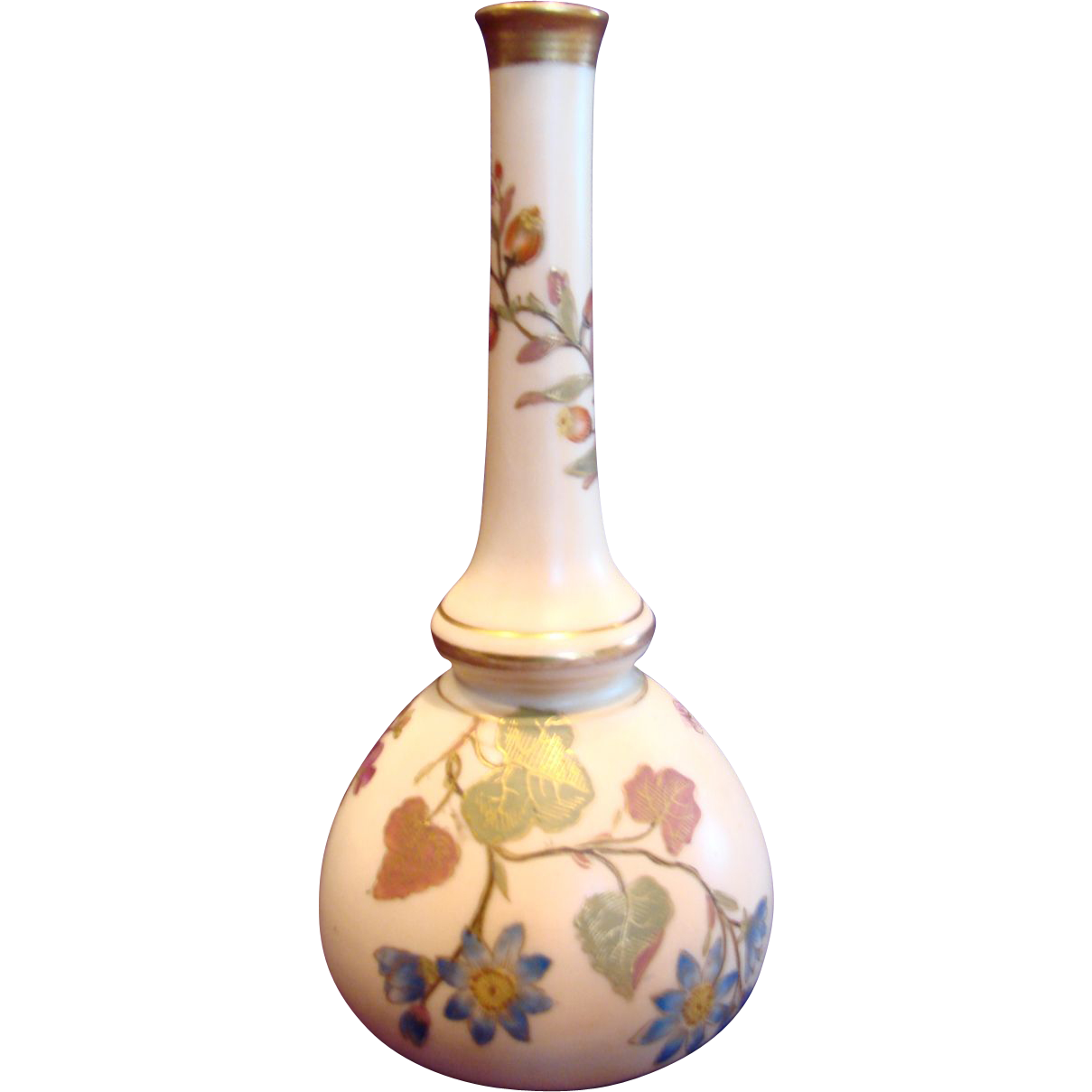 English Royal Worcester Plain Stick Bud Vase Hand Painted Blue Daisies c 1892