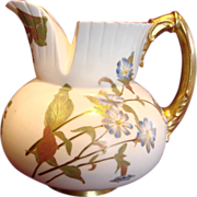 English Royal Worcester Cleft Top Jug Hand Painted Flowers c 1890