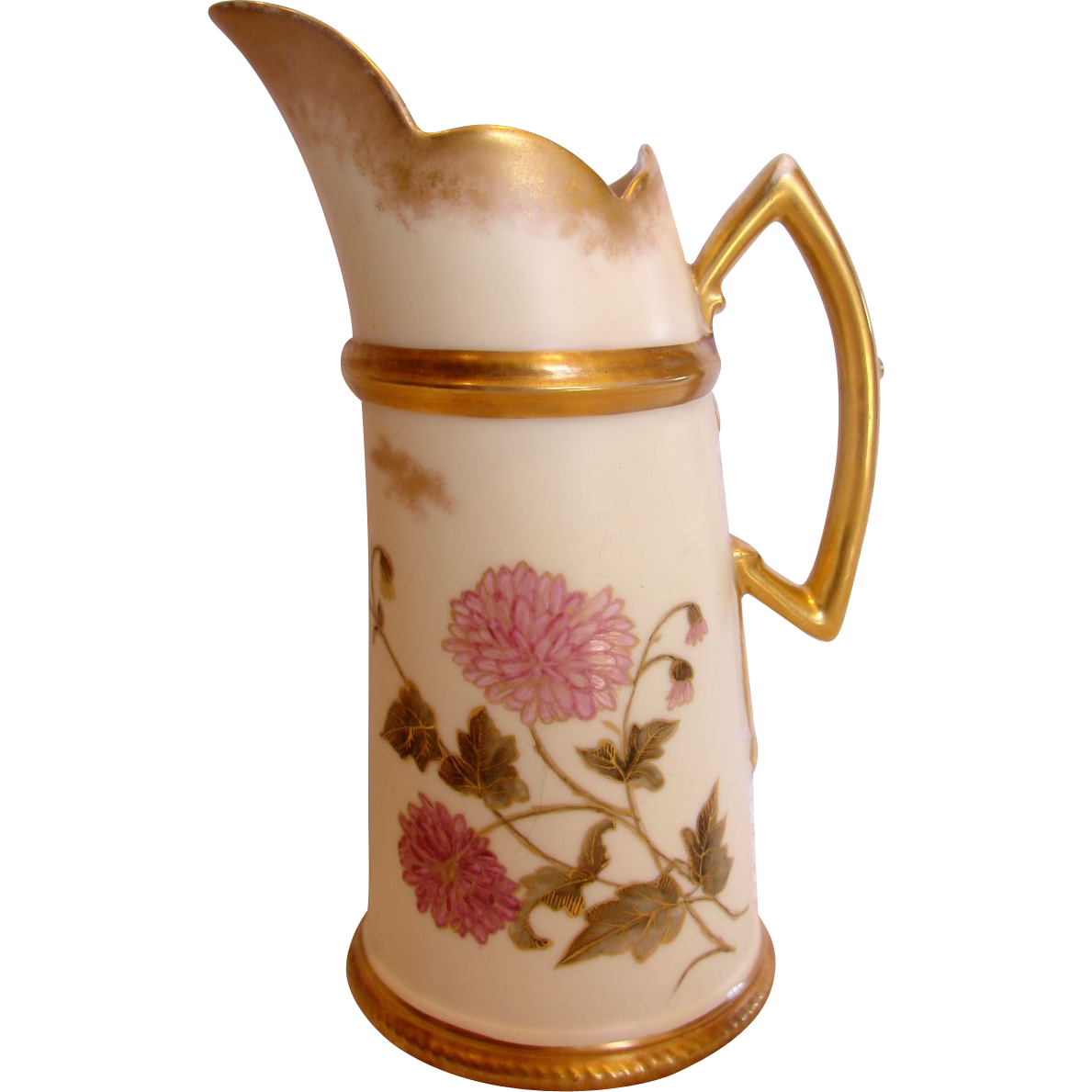 French Limoges Tankard Jug Pitcher Vase Hand Painted Pink Chrysanthemums Artist Signed 1889