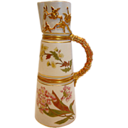 English Royal Worcester Claret Jug Hand Painted Flowers Leaves c 1884