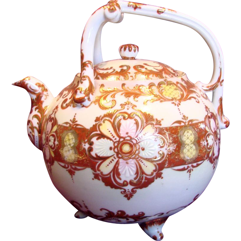 Japanese Seto Large Footed Porcelain Teapot w Red & Gold c 1880 - 1885