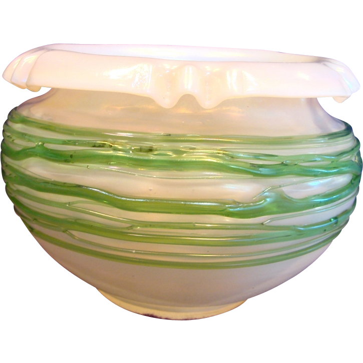 English Art Glass Bowl Vase Iridescent Opal White w Applied Green Trails c 1900