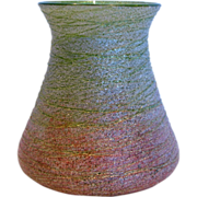 "Bohemian Kralik 4"" Green Art Glass Vase Silveria Shading to Pink & Threads c 1890"
