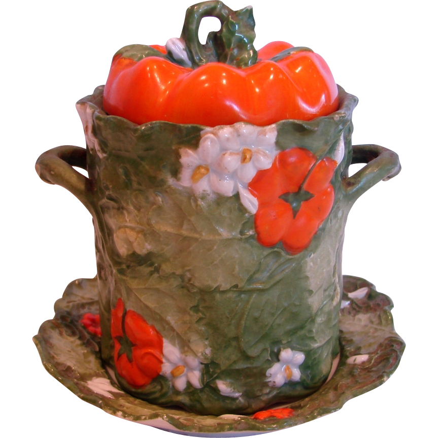 German Bohemian Ernst Wahliss Tomato Majolica Condensed Milk Holder w Under Plate c 1900