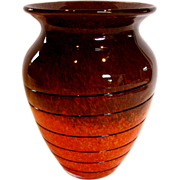 Bohemian Czech Art Glass Vase Orange Yellow Brown w Black Glass Windings c 1930s