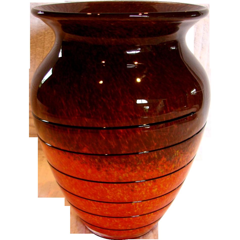 Bohemian czech art glass vase orange yellow brown w black glass bohemian czech art glass vase orange yellow brown w black glass darcys antique treasures ruby lane reviewsmspy